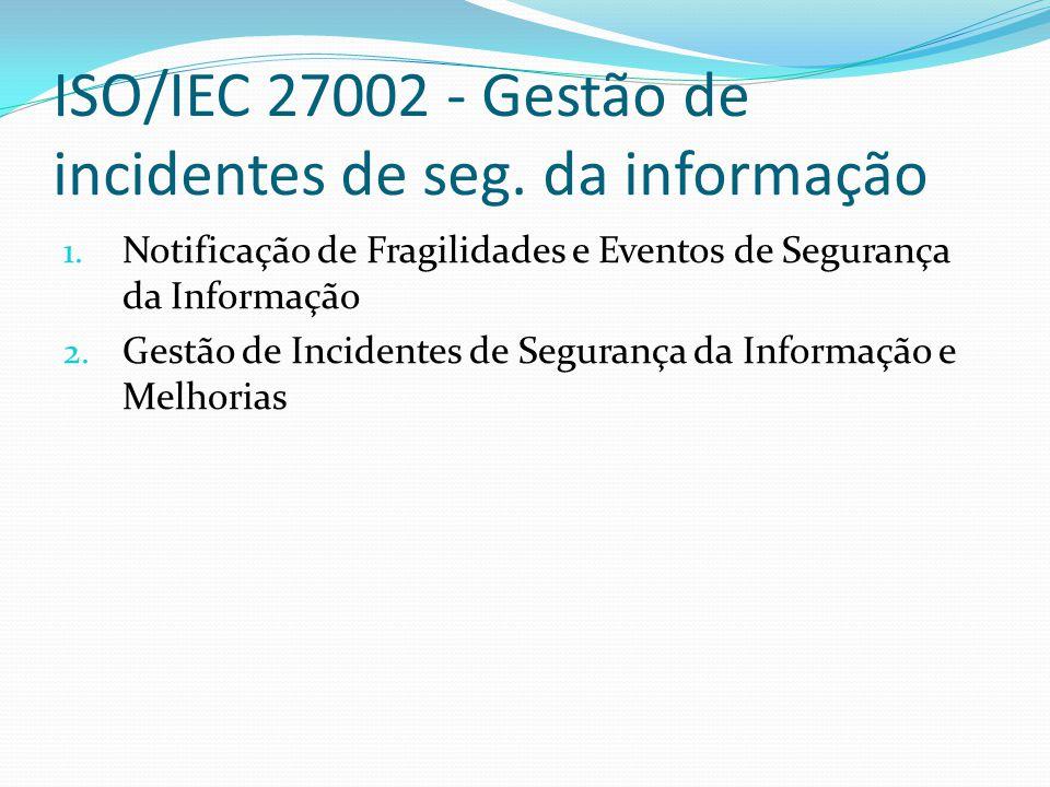 ISO/IEC 27002 - Gestão de incidentes de seg. da informação