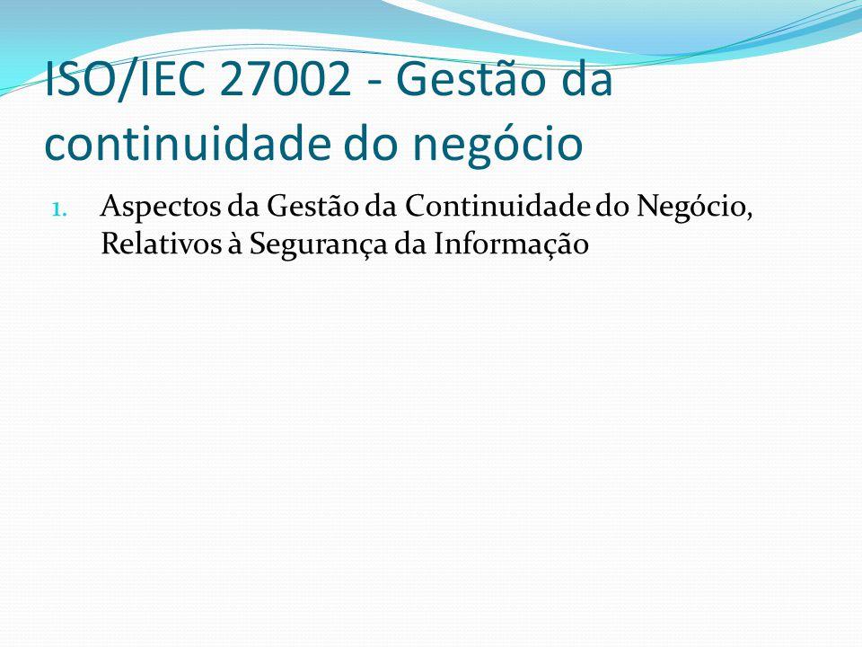 ISO/IEC 27002 - Gestão da continuidade do negócio