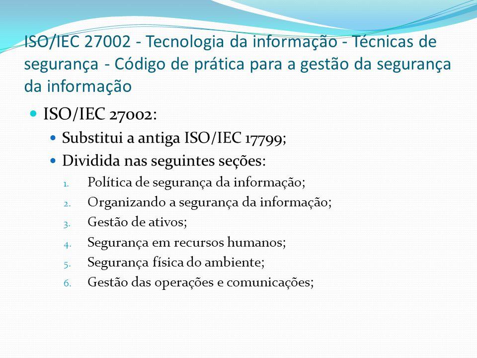 ISO/IEC 27002 - Tecnologia da informação - Técnicas de segurança - Código de prática para a gestão da segurança da informação