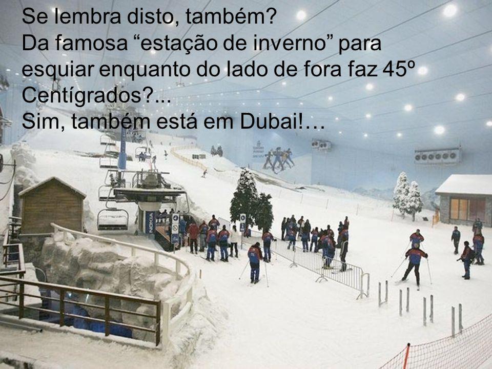Se lembra disto, também Da famosa estação de inverno para esquiar enquanto do lado de fora faz 45º Centígrados ...
