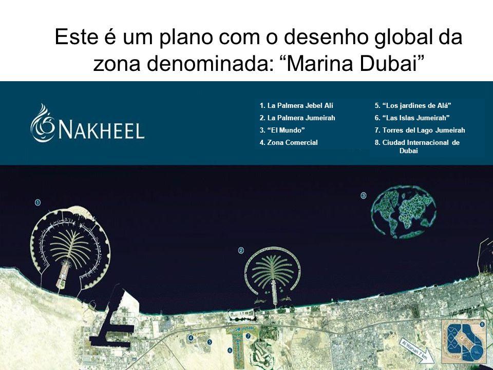 Este é um plano com o desenho global da zona denominada: Marina Dubai