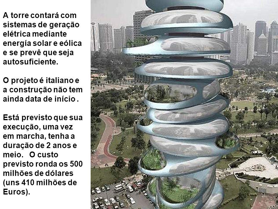 A torre contará com sistemas de geração elétrica mediante energía solar e eólica e se prevê que seja autosuficiente.