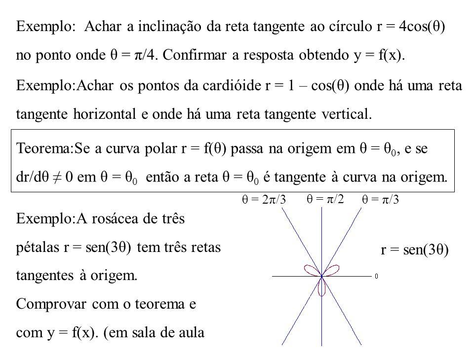 Exemplo: Achar a inclinação da reta tangente ao círculo r = 4cos(θ)