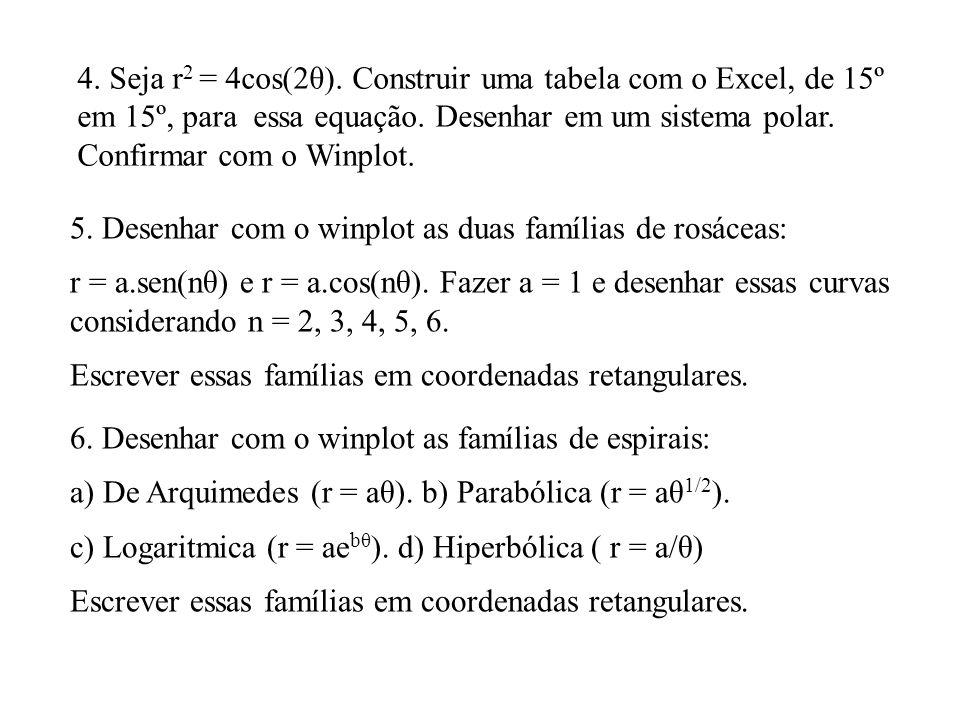 4. Seja r2 = 4cos(2θ). Construir uma tabela com o Excel, de 15º em 15º, para essa equação. Desenhar em um sistema polar. Confirmar com o Winplot.
