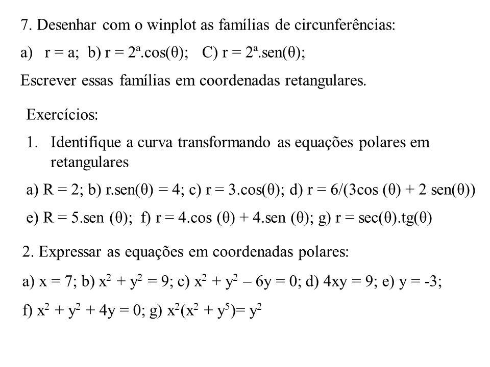 7. Desenhar com o winplot as famílias de circunferências: