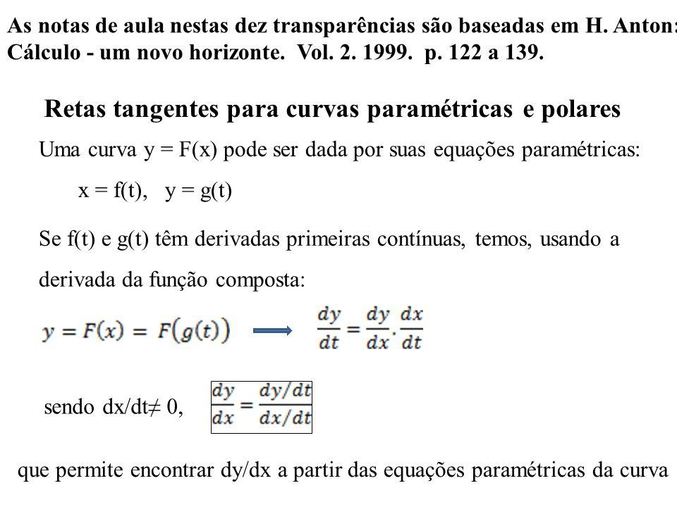 Retas tangentes para curvas paramétricas e polares