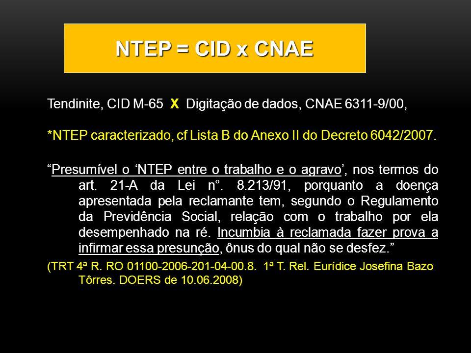 NTEP = CID x CNAE Tendinite, CID M-65 X Digitação de dados, CNAE 6311-9/00, *NTEP caracterizado, cf Lista B do Anexo II do Decreto 6042/2007.
