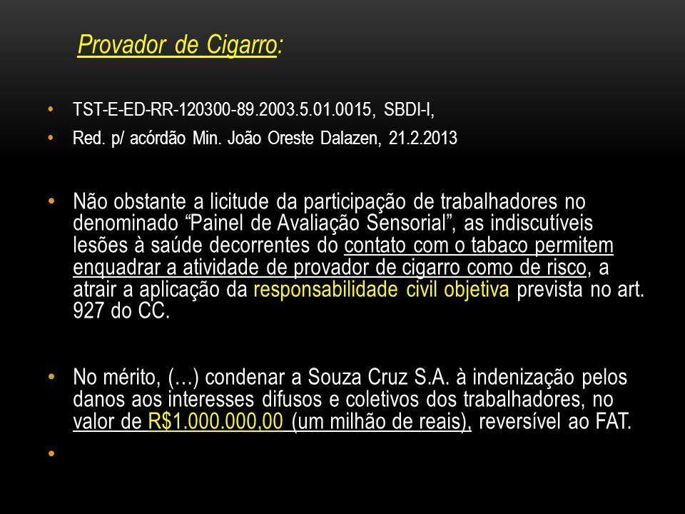 Provador de Cigarro: TST-E-ED-RR-120300-89.2003.5.01.0015, SBDI-I, Red. p/ acórdão Min. João Oreste Dalazen, 21.2.2013.