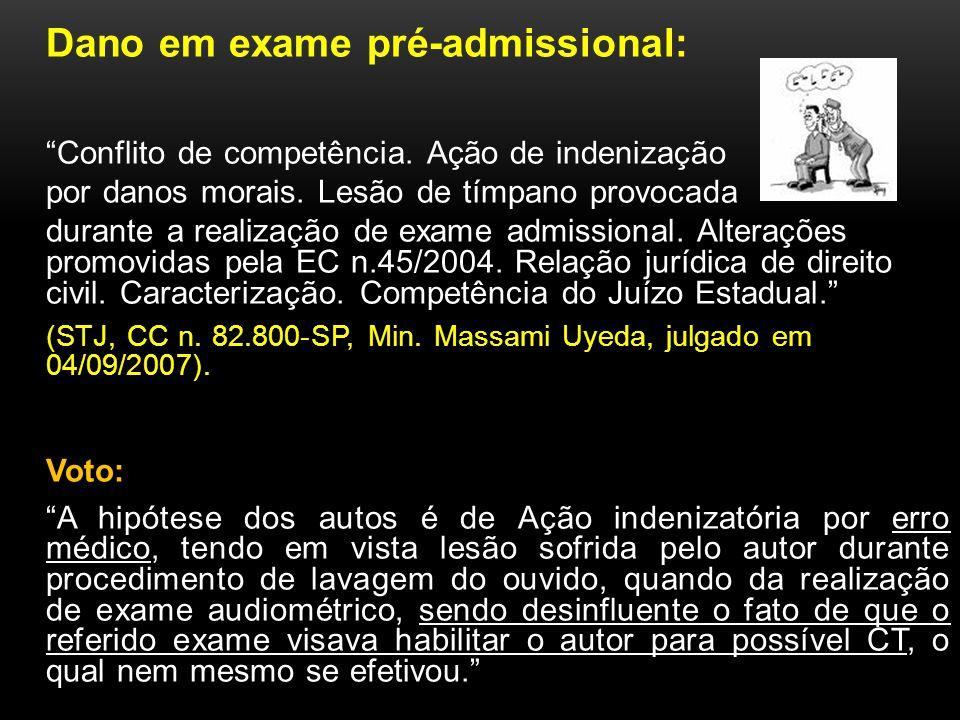 Dano em exame pré-admissional: