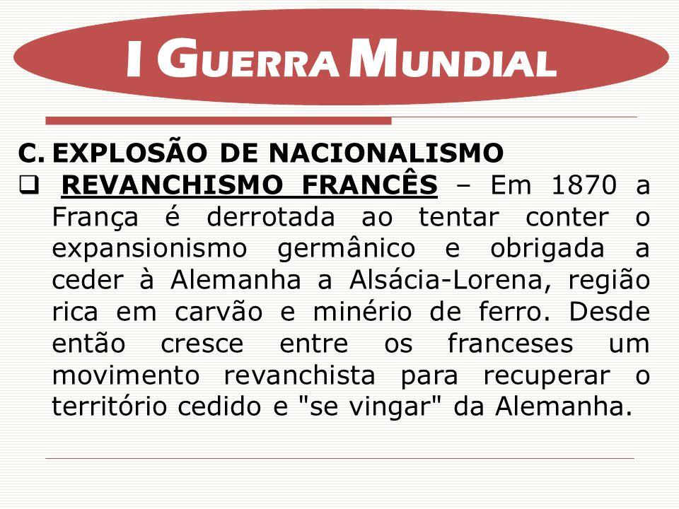 I GUERRA MUNDIAL EXPLOSÃO DE NACIONALISMO