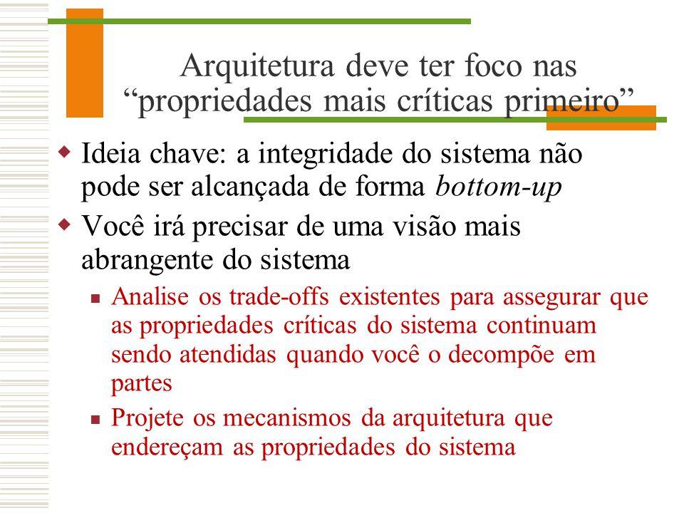 Arquitetura deve ter foco nas propriedades mais críticas primeiro