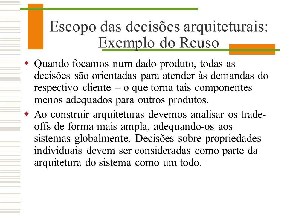 Escopo das decisões arquiteturais: Exemplo do Reuso