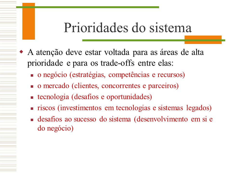 Prioridades do sistema