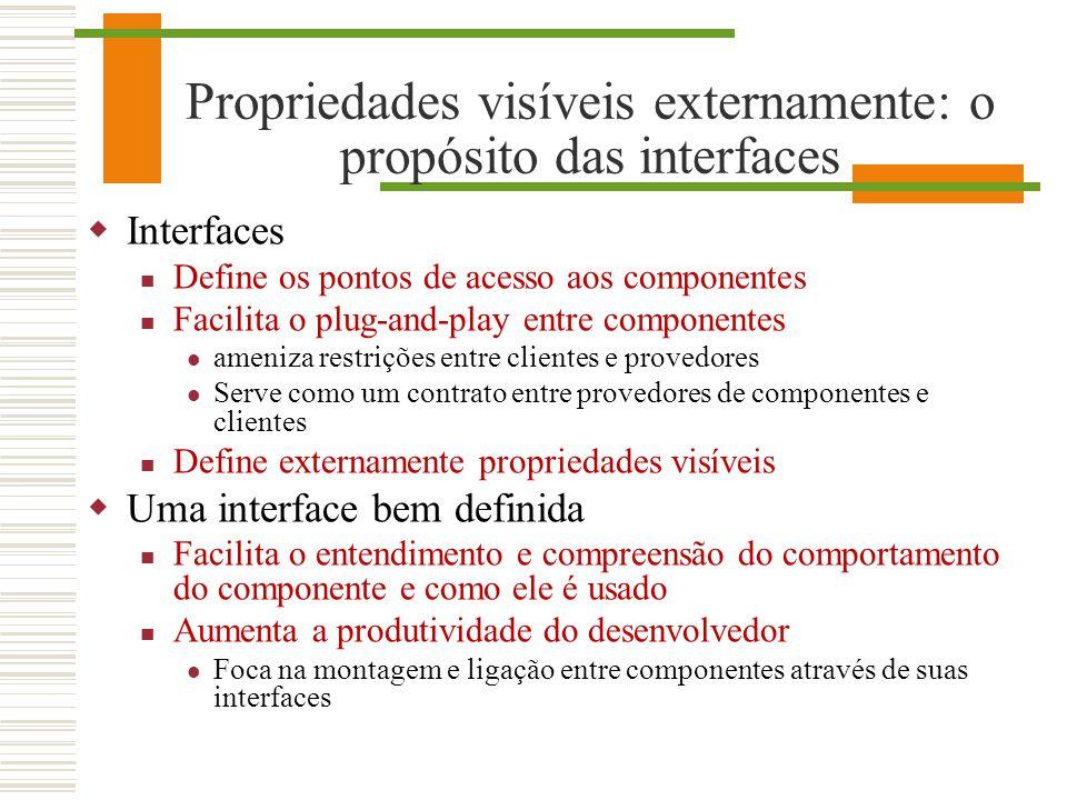 Propriedades visíveis externamente: o propósito das interfaces