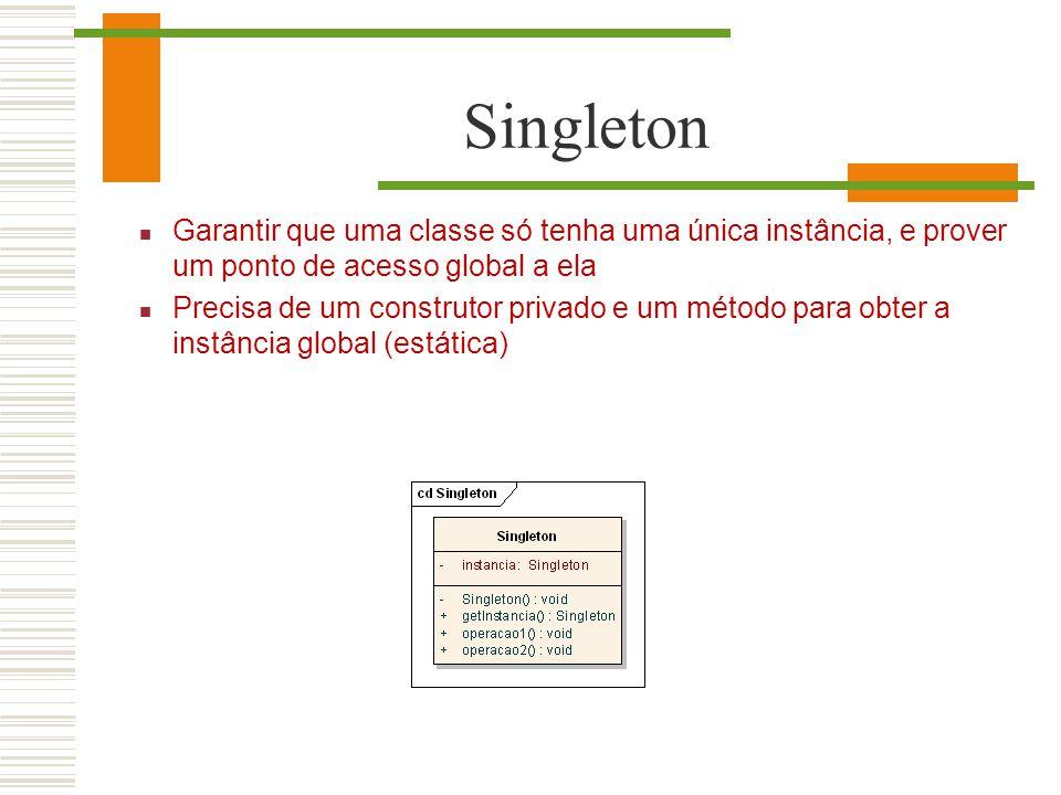 Singleton Garantir que uma classe só tenha uma única instância, e prover um ponto de acesso global a ela.
