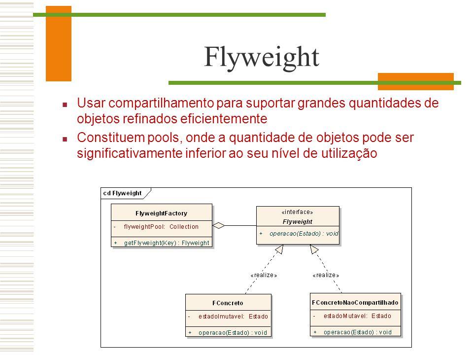 Flyweight Usar compartilhamento para suportar grandes quantidades de objetos refinados eficientemente.