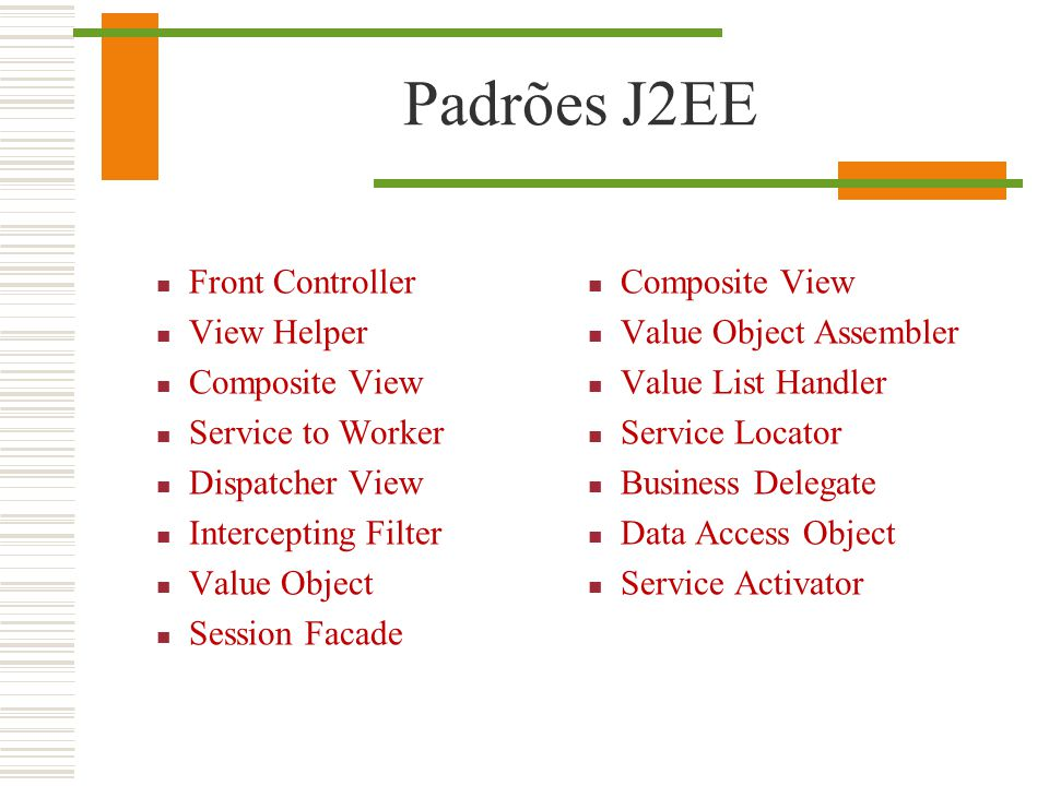 Padrões J2EE Front Controller View Helper Composite View