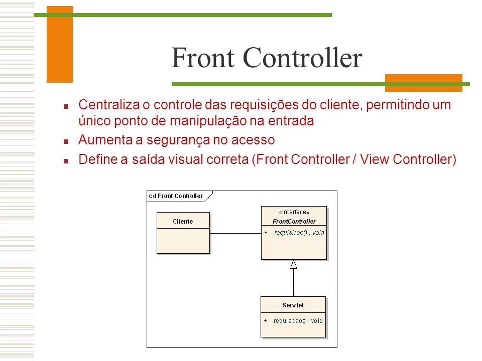Front Controller Centraliza o controle das requisições do cliente, permitindo um único ponto de manipulação na entrada.