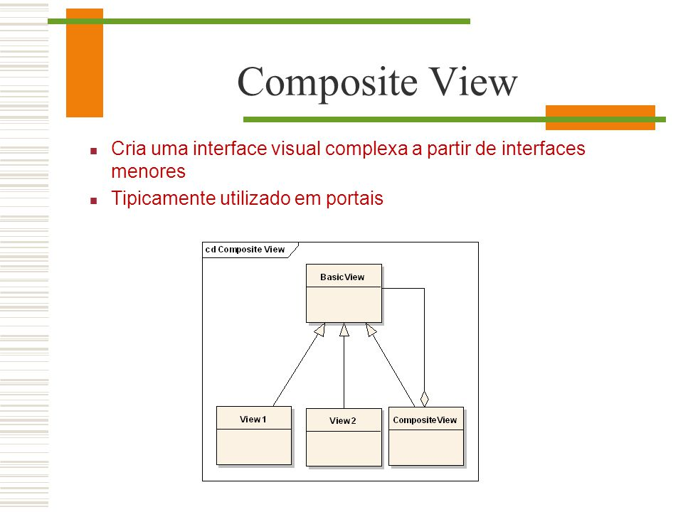Composite View Cria uma interface visual complexa a partir de interfaces menores.