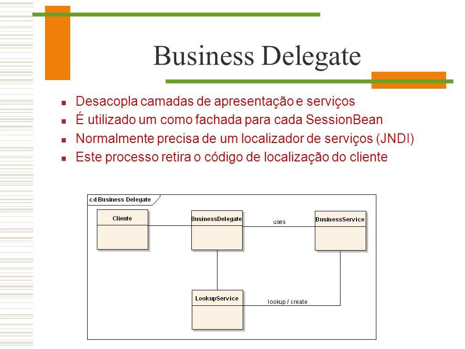 Business Delegate Desacopla camadas de apresentação e serviços