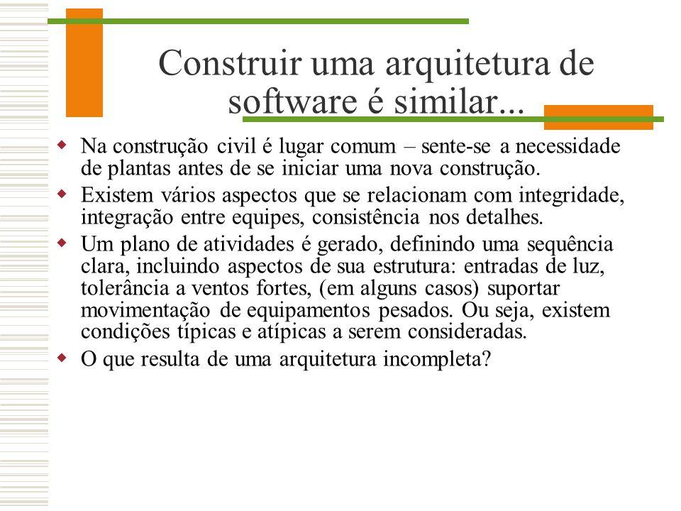 Construir uma arquitetura de software é similar...
