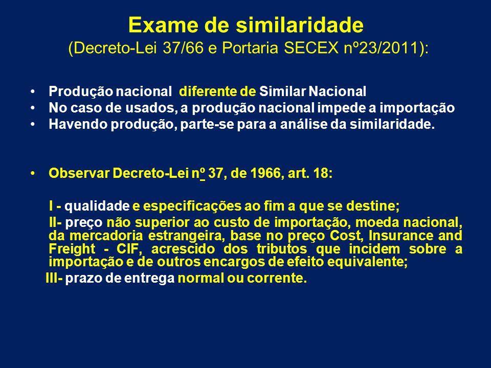 (Decreto-Lei 37/66 e Portaria SECEX nº23/2011):