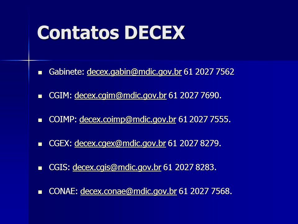 Contatos DECEX Gabinete: decex.gabin@mdic.gov.br 61 2027 7562