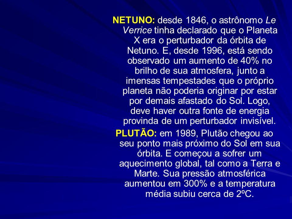 NETUNO: desde 1846, o astrônomo Le Verrice tinha declarado que o Planeta X era o perturbador da órbita de Netuno. E, desde 1996, está sendo observado um aumento de 40% no brilho de sua atmosfera, junto a imensas tempestades que o próprio planeta não poderia originar por estar por demais afastado do Sol. Logo, deve haver outra fonte de energia provinda de um perturbador invisível.
