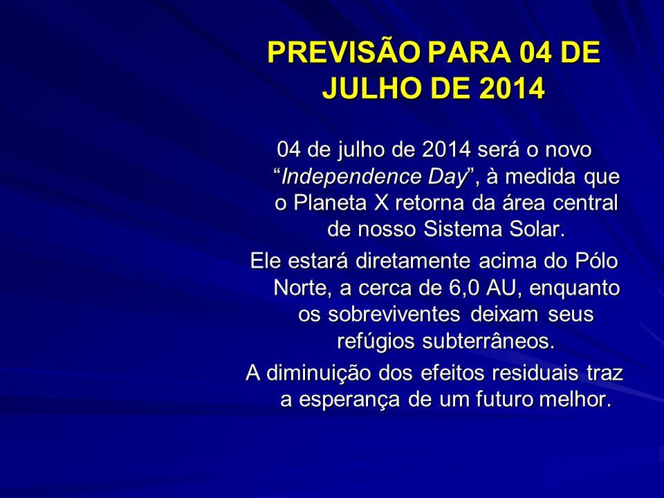 PREVISÃO PARA 04 DE JULHO DE 2014