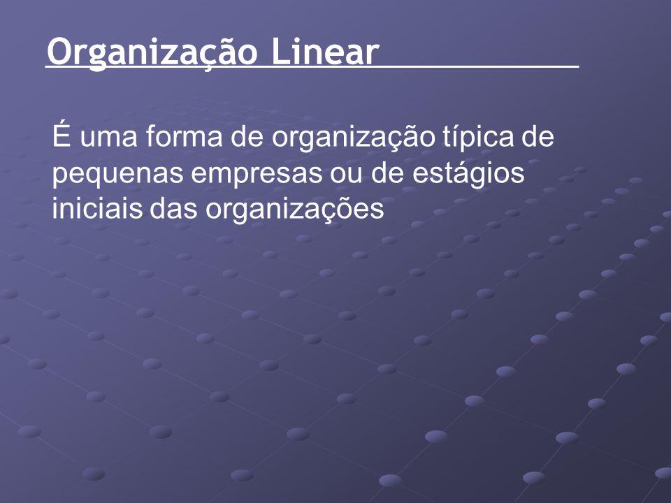 Organização Linear É uma forma de organização típica de pequenas empresas ou de estágios iniciais das organizações.