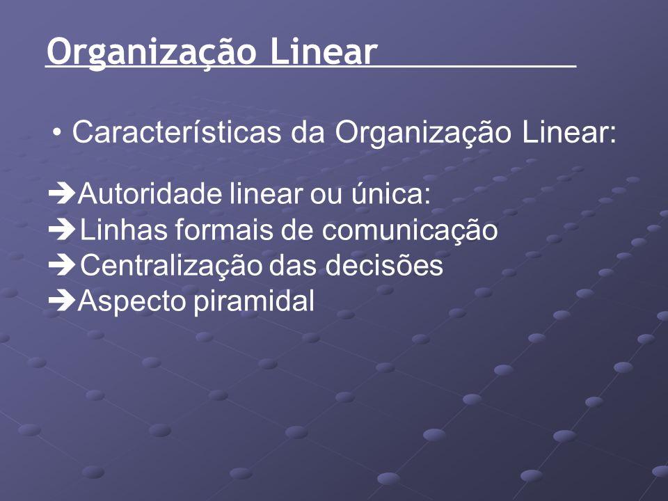 Organização Linear Características da Organização Linear: