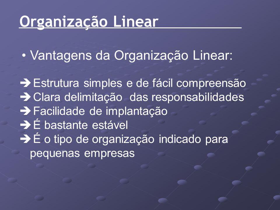 Organização Linear Vantagens da Organização Linear: