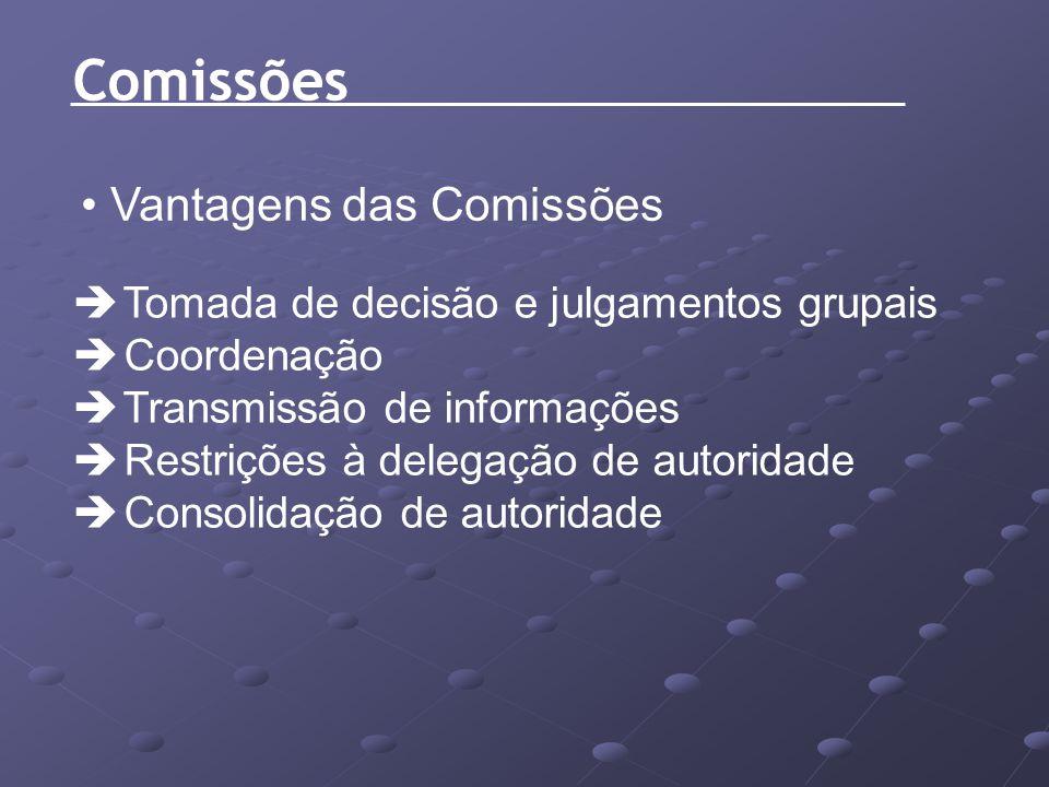 Comissões Vantagens das Comissões