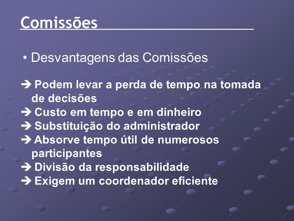 Comissões Desvantagens das Comissões