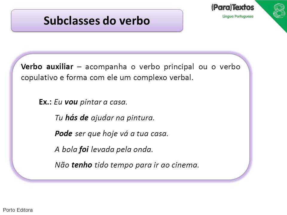 Subclasses do verbo Verbo auxiliar – acompanha o verbo principal ou o verbo copulativo e forma com ele um complexo verbal.