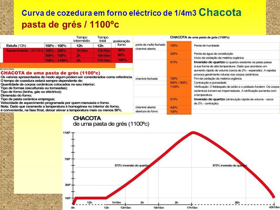 Curva de cozedura em forno eléctrico de 1/4m3 Chacota pasta de grés / 1100ºc