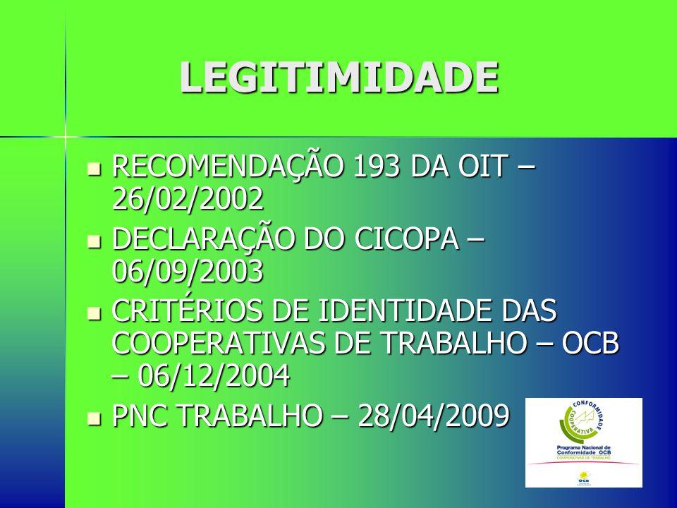LEGITIMIDADE RECOMENDAÇÃO 193 DA OIT – 26/02/2002