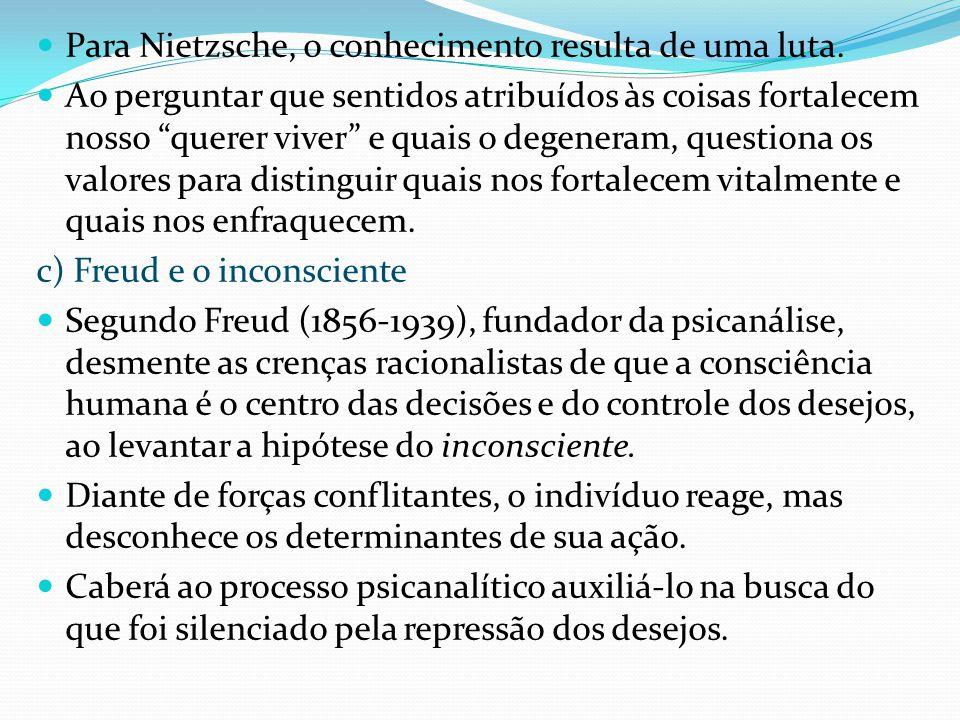 Para Nietzsche, o conhecimento resulta de uma luta.