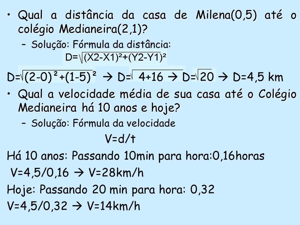 Qual a distância da casa de Milena(0,5) até o colégio Medianeira(2,1)