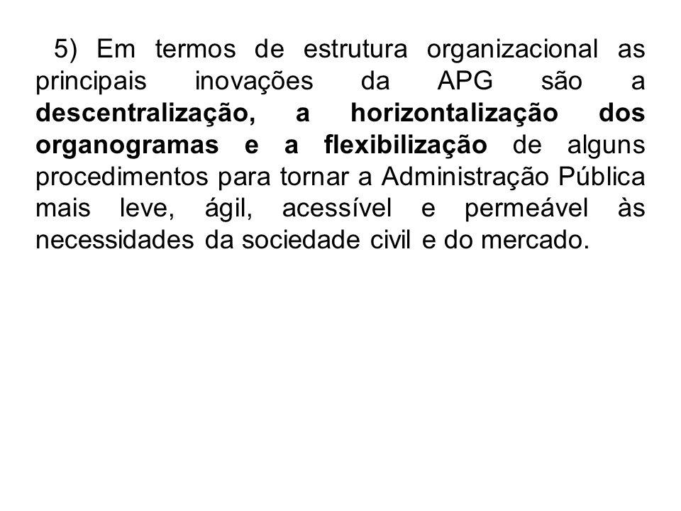 5) Em termos de estrutura organizacional as principais inovações da APG são a descentralização, a horizontalização dos organogramas e a flexibilização de alguns procedimentos para tornar a Administração Pública mais leve, ágil, acessível e permeável às necessidades da sociedade civil e do mercado.