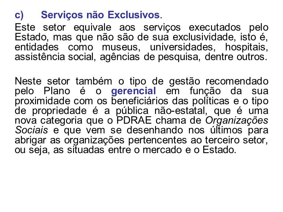c) Serviços não Exclusivos.