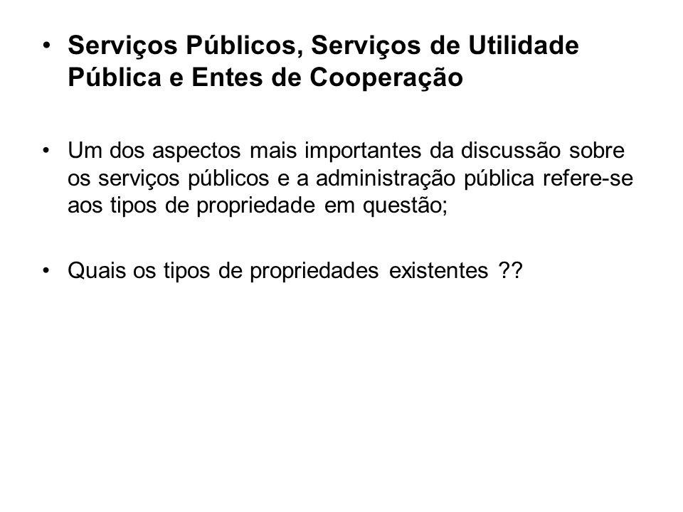 Serviços Públicos, Serviços de Utilidade Pública e Entes de Cooperação