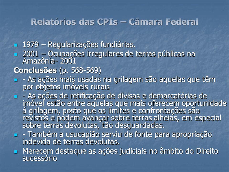 Relatórios das CPIs – Câmara Federal