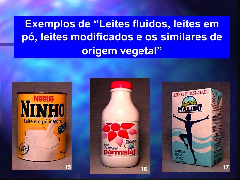 Exemplos de Leites fluidos, leites em pó, leites modificados e os similares de origem vegetal