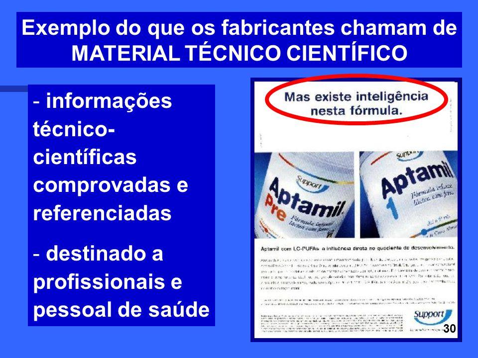 Exemplo do que os fabricantes chamam de MATERIAL TÉCNICO CIENTÍFICO