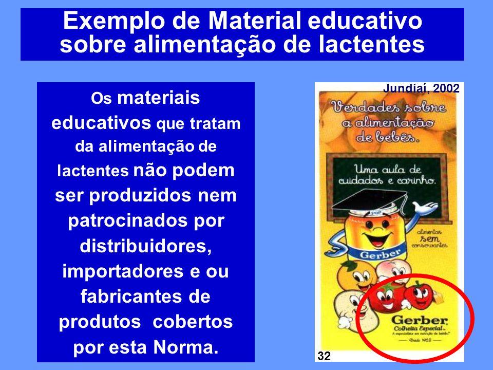 Exemplo de Material educativo sobre alimentação de lactentes