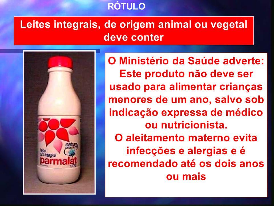 Leites integrais, de origem animal ou vegetal deve conter