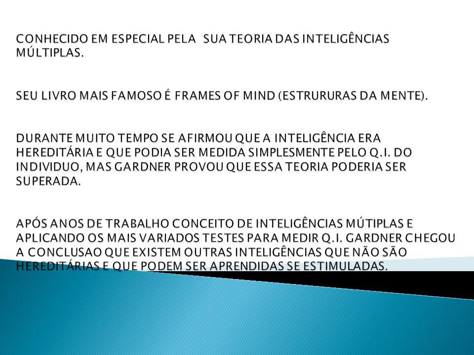 CONHECIDO EM ESPECIAL PELA SUA TEORIA DAS INTELIGÊNCIAS MÚLTIPLAS