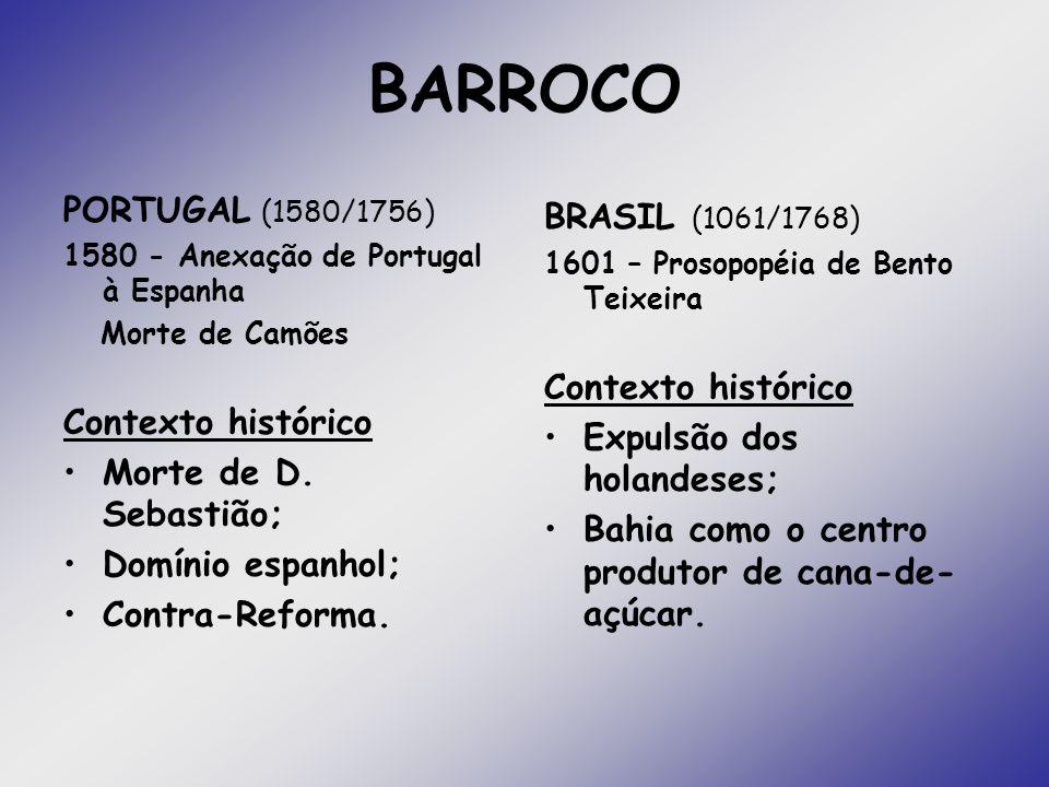 BARROCO PORTUGAL (1580/1756) Contexto histórico Morte de D. Sebastião;