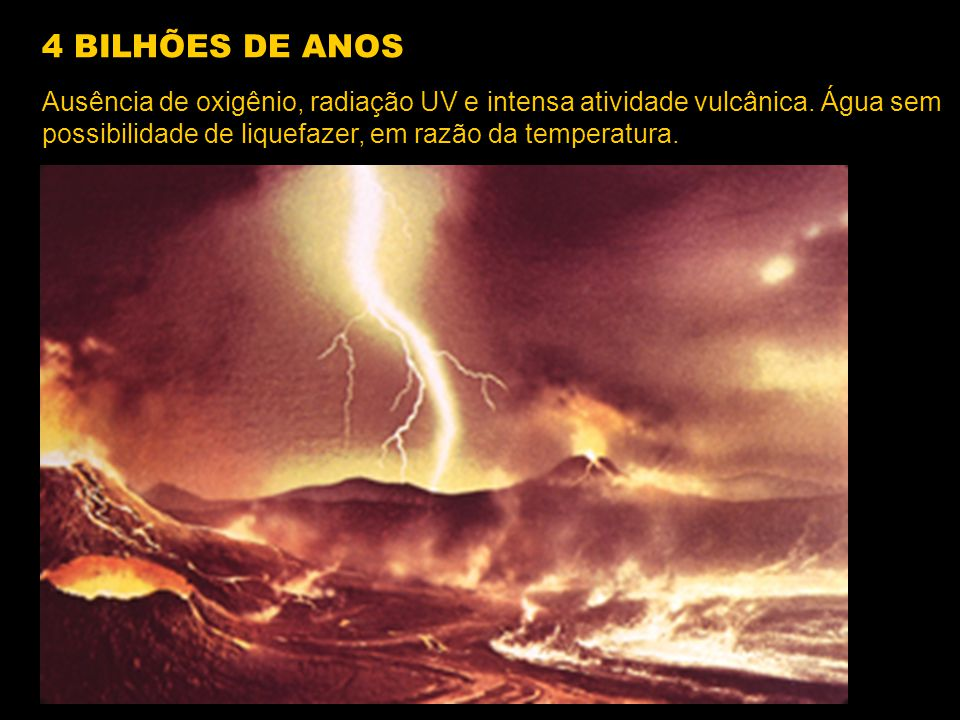 4 BILHÕES DE ANOS Ausência de oxigênio, radiação UV e intensa atividade vulcânica.